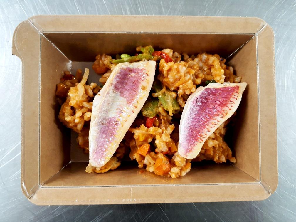 Filet de rouget et riz au poisson