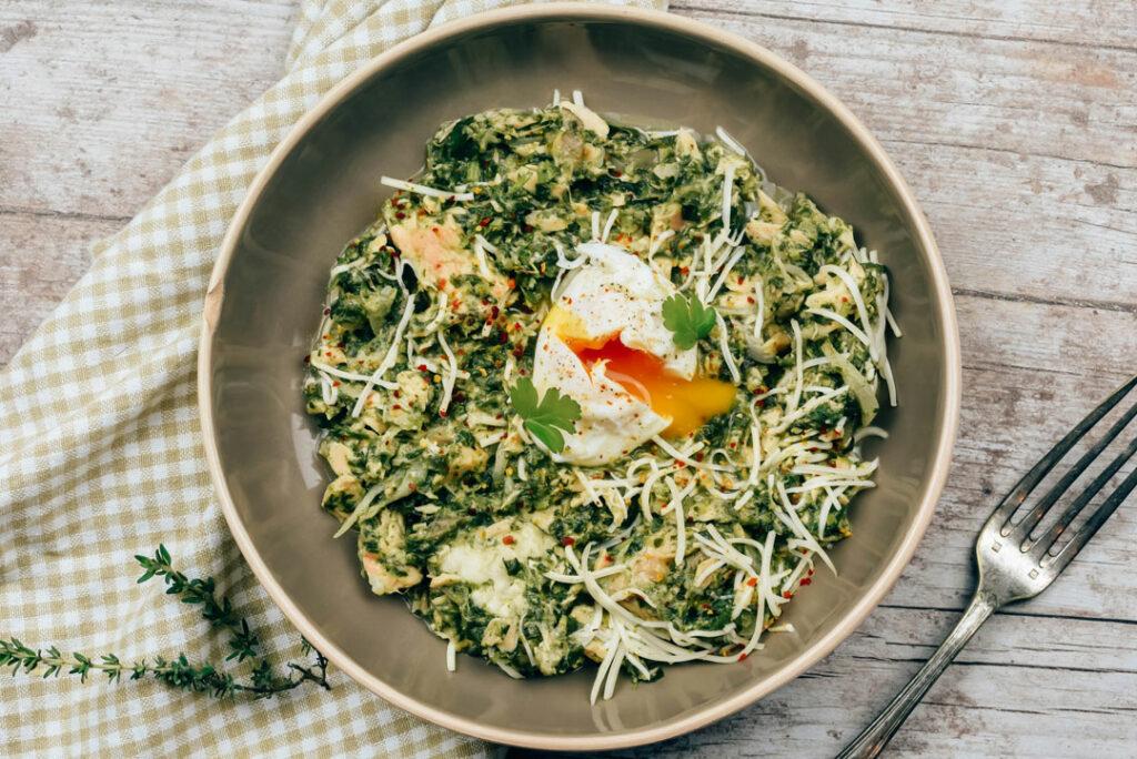 œuf mollet et saumon à la florentine