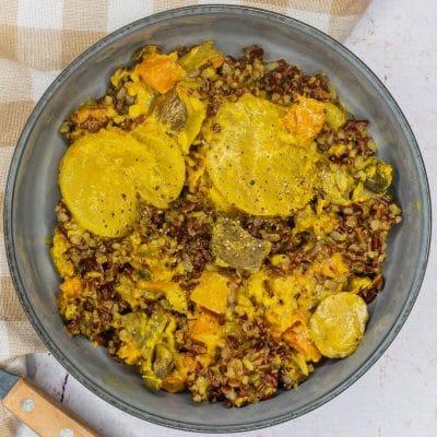 Bouchée Thaï et riz 3 couleurs aux légumes
