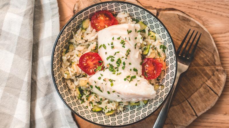 dos de lingue tandoori courgettes et riz blanc