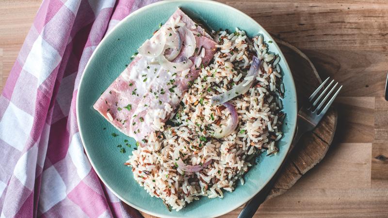 endive au jambon accompagné de son riz 3 couleurs