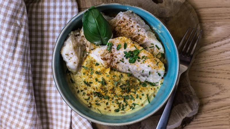 photo filet d'églefin sauce thaï et purée de pommes de terre