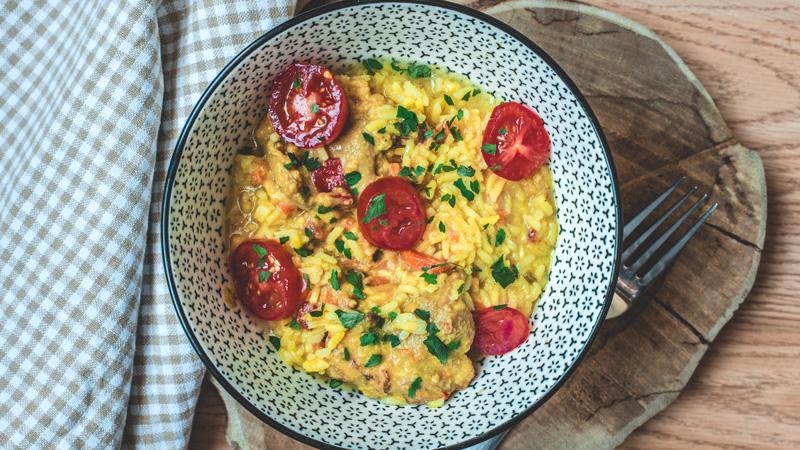photo plat porc madras et son riz complet