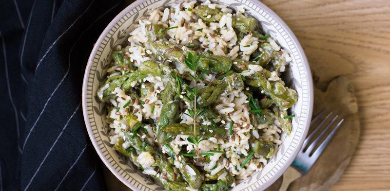 photo bol salade d'asperges fromage blanc et riz complet
