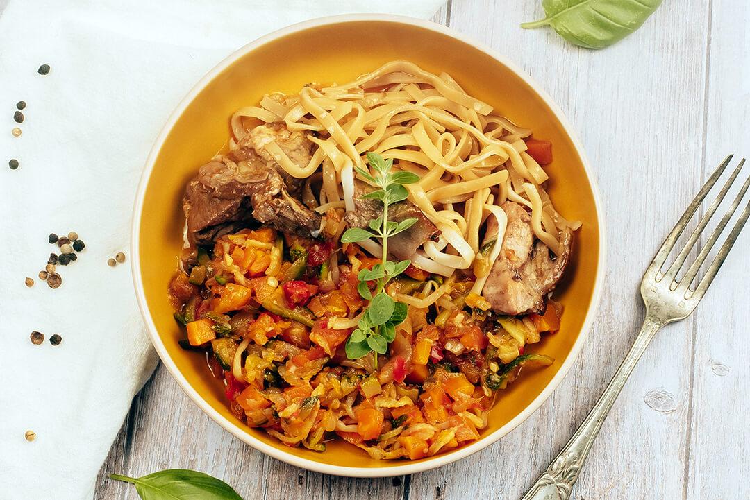 porc-caramel-wok-légumes
